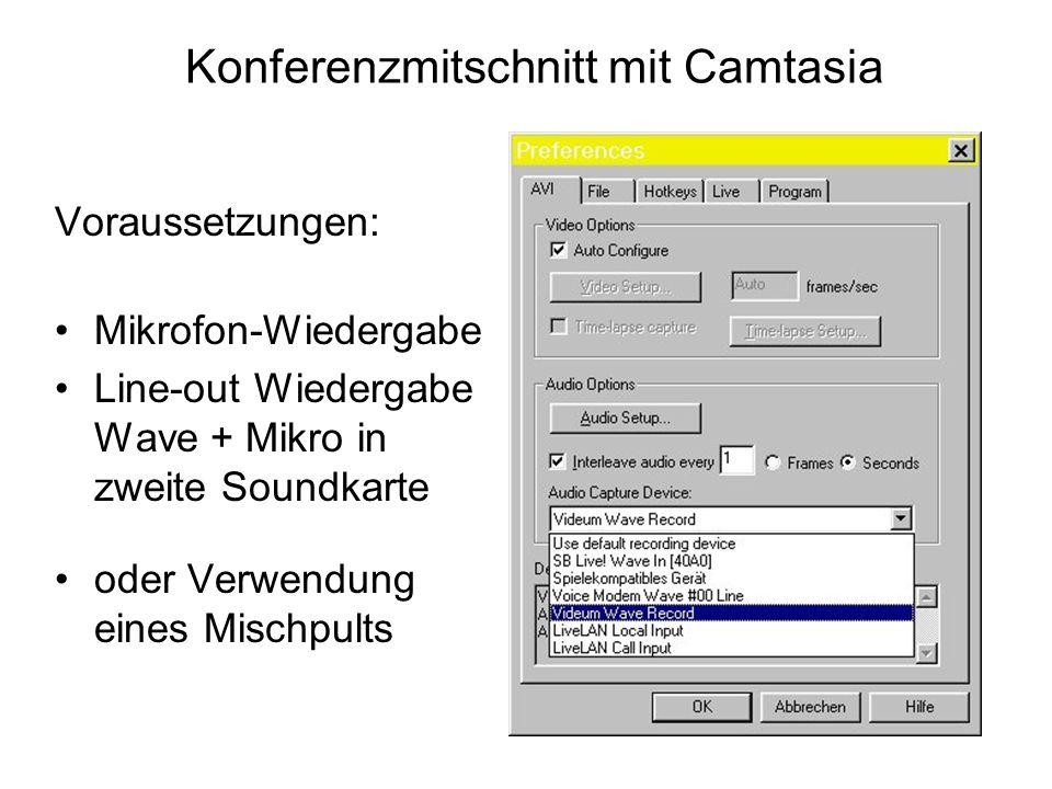 Konferenzmitschnitt mit Camtasia Voraussetzungen: Mikrofon-Wiedergabe Line-out Wiedergabe Wave + Mikro in zweite Soundkarte oder Verwendung eines Mischpults