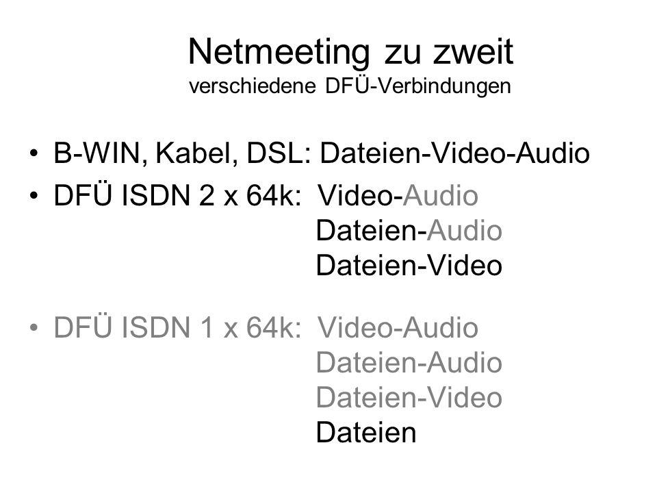 Netmeeting zu zweit verschiedene DFÜ-Verbindungen B-WIN, Kabel, DSL: Dateien-Video-Audio DFÜ ISDN 2 x 64k: Video-Audio Dateien-Audio Dateien-Video DFÜ ISDN 1 x 64k: Video-Audio Dateien-Audio Dateien-Video Dateien