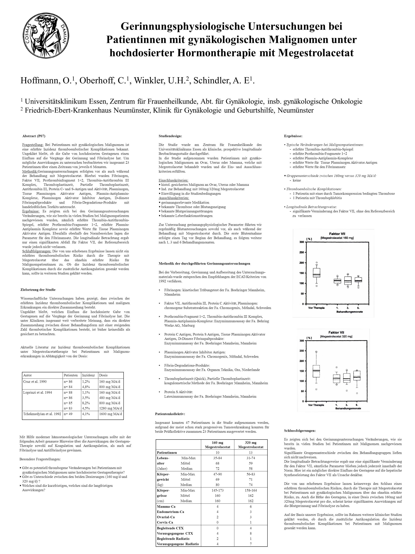 Hoffmann, O. 1, Oberhoff, C. 1, Winkler, U.H. 2, Schindler, A. E 1. 1 Universitätsklinikum Essen, Zentrum für Frauenheilkunde, Abt. für Gynäkologie, i