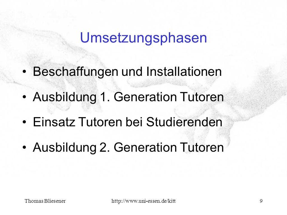 Thomas Bliesenerhttp://www.uni-essen.de/kitt10 Unterstützungsbedarf Support bei Rechnereinrichtung: Kompatibilitäten, Backup, Mitschnitte Support bei Konferenzkonfiguration: Codecs, Bandbreiten, Multipoint Ergänzende Installationen: Zugang von Mbone für Heimplätze