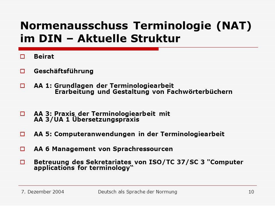 7. Dezember 2004Deutsch als Sprache der Normung10 Normenausschuss Terminologie (NAT) im DIN – Aktuelle Struktur Beirat Geschäftsführung AA 1: Grundlag
