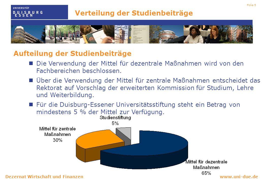 www.uni-due.deDezernat Wirtschaft und Finanzen Folie 5 Aufteilung der Studienbeiträge Die Verwendung der Mittel für dezentrale Maßnahmen wird von den