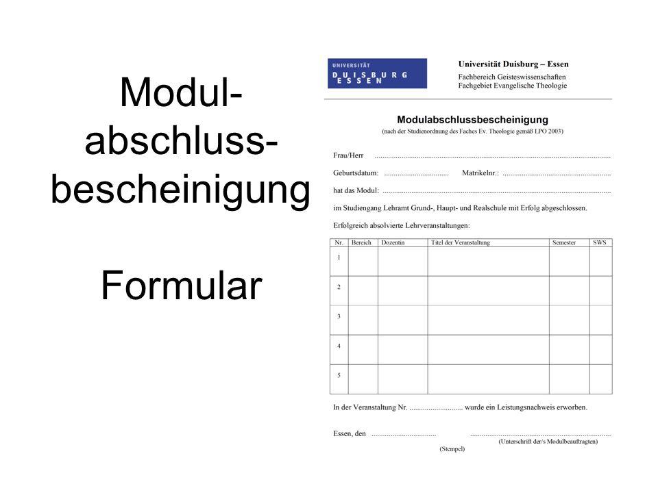 Modul- abschluss- bescheinigung Formular