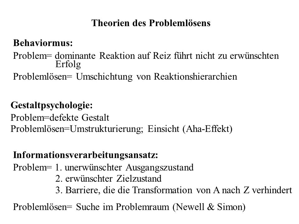 Theorien des Problemlösens Behaviormus: Problem= dominante Reaktion auf Reiz führt nicht zu erwünschten Erfolg Problemlösen= Umschichtung von Reaktion