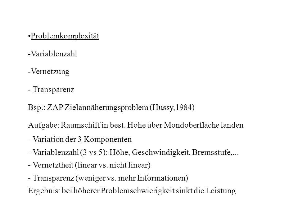 Problemkomplexität -Variablenzahl -Vernetzung - Transparenz Bsp.: ZAP Zielannäherungsproblem (Hussy,1984) Aufgabe: Raumschiff in best. Höhe über Mondo