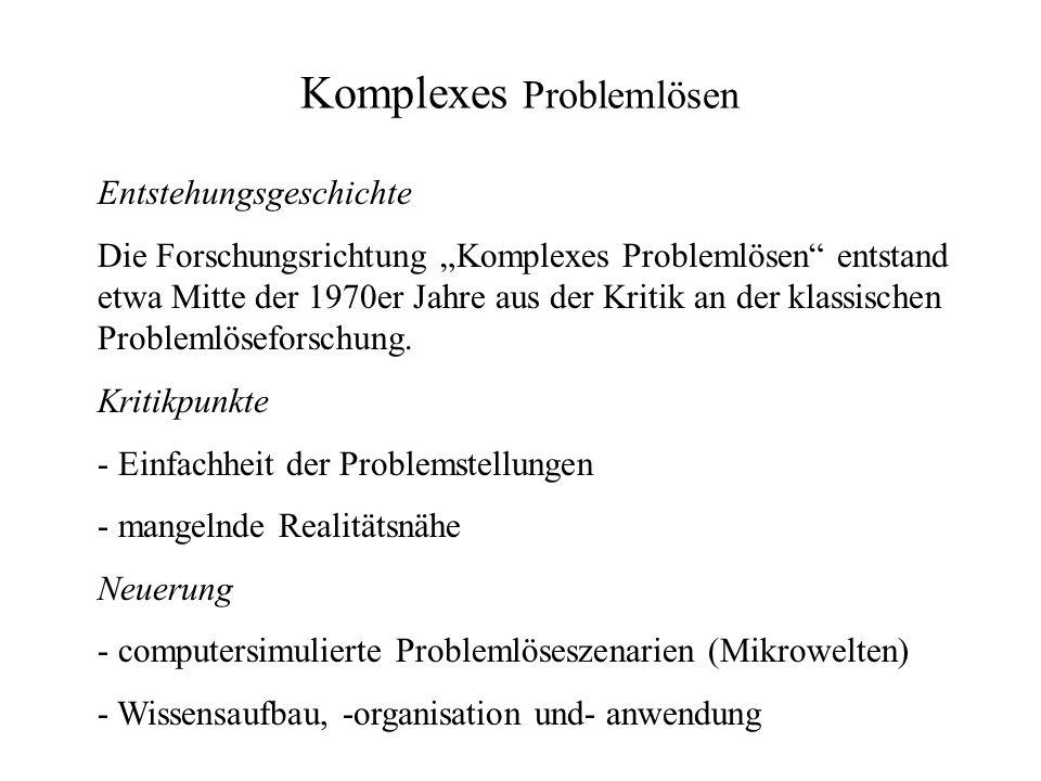 Komplexes Problemlösen Entstehungsgeschichte Die Forschungsrichtung Komplexes Problemlösen entstand etwa Mitte der 1970er Jahre aus der Kritik an der