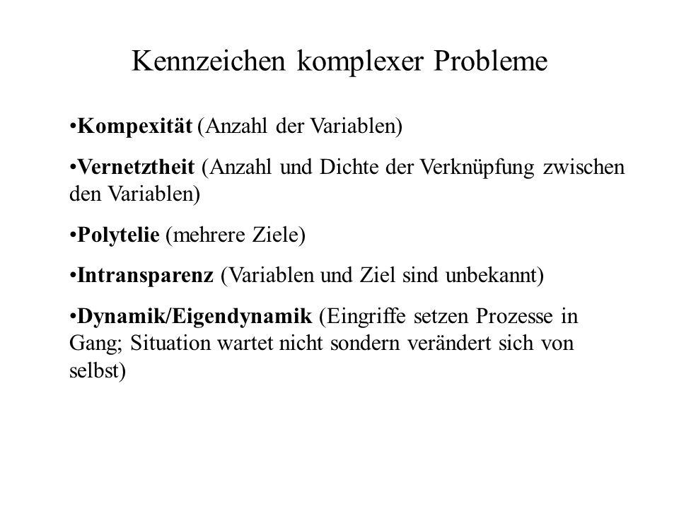 Kennzeichen komplexer Probleme Kompexität (Anzahl der Variablen) Vernetztheit (Anzahl und Dichte der Verknüpfung zwischen den Variablen) Polytelie (me