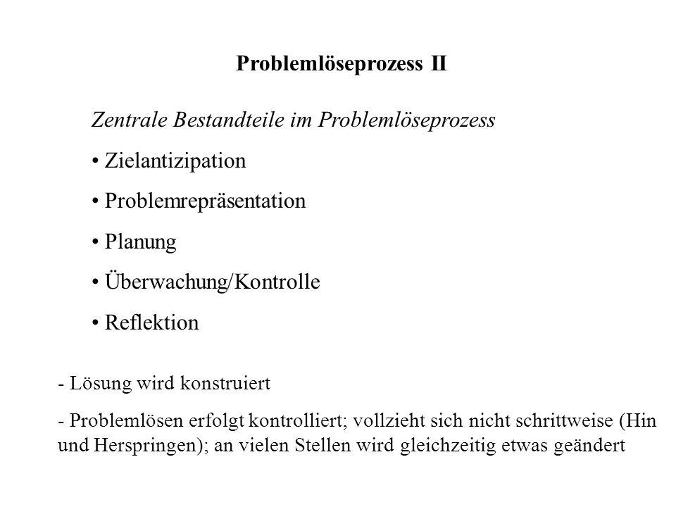 Problemlöseprozess II Zentrale Bestandteile im Problemlöseprozess Zielantizipation Problemrepräsentation Planung Überwachung/Kontrolle Reflektion - Lö