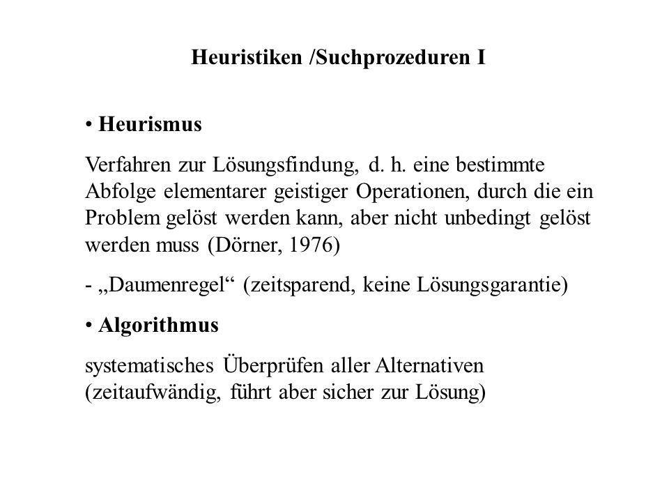 Heuristiken /Suchprozeduren I Heurismus Verfahren zur Lösungsfindung, d. h. eine bestimmte Abfolge elementarer geistiger Operationen, durch die ein Pr
