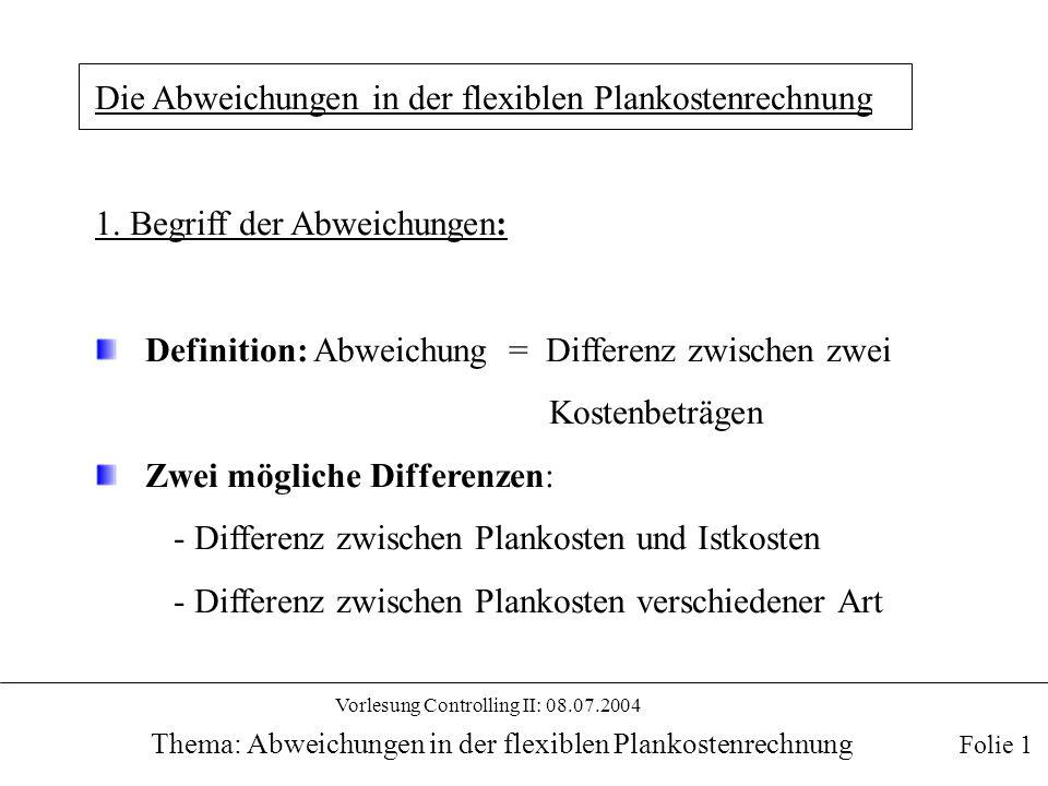Vorlesung Controlling II: 08.07.2004 Thema: Abweichungen in der flexiblen Plankostenrechnung b2) Methode der Drei-Abweichungen: Folie 12 b21) Beschäftigungsabweichung: ΔB = Differenz zwischen den verrechneten Plankosten auf Basis der Ist-Zeit und den Sollkosten auf Basis der Ist-Zeit b22) Verbrauchsabweichung: ΔV = Differenz zwischen den Sollkosten auf Basis der Ist-Zeit und den Istkosten b23) Intensitätsabweichung: ΔI = Differenz zwischen den verrechneten Plankosten auf Basis der Sollzeit und den verrechneten Plankosten auf Basis der Ist-Zeit