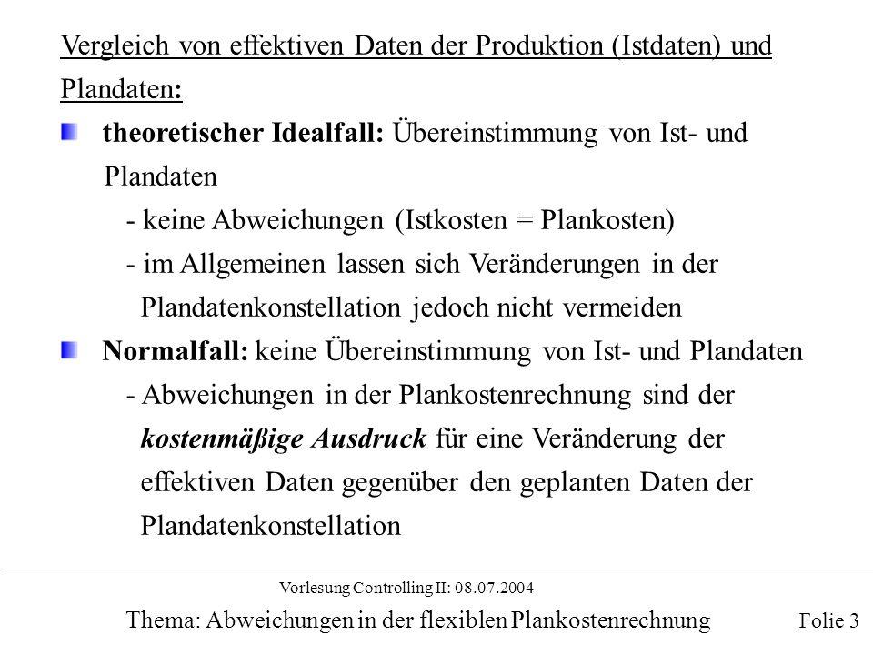 Vorlesung Controlling II: 08.07.2004 Thema: Abweichungen in der flexiblen Plankostenrechnung Vergleich von effektiven Daten der Produktion (Istdaten)