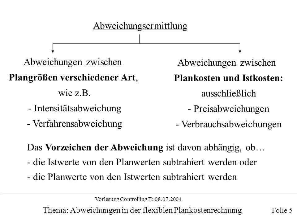 Vorlesung Controlling II: 08.07.2004 Thema: Abweichungen in der flexiblen Plankostenrechnung Folie 5 Abweichungsermittlung Abweichungen zwischen Plang