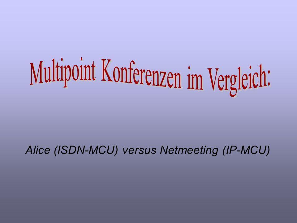 Alice (ISDN-MCU) versus Netmeeting (IP-MCU)