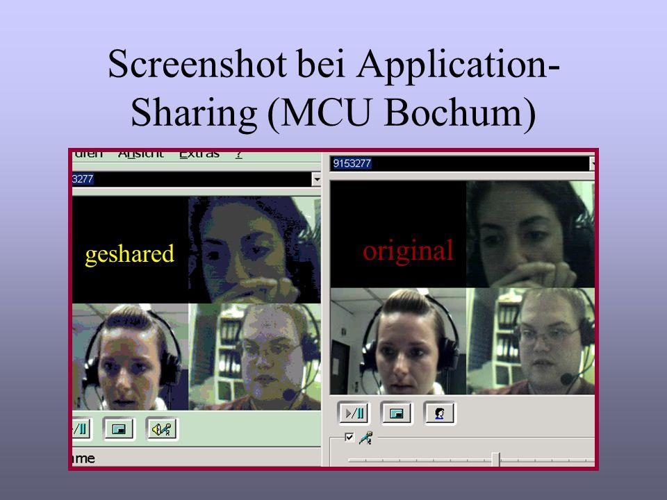 Auffälligkeiten der Bildqualität über ISDN-MCU (64 kb) Bild friert oft ein /verschwindet Bild wurde zunehmend schlechter Verzögerung war recht groß, trotzdem wurde das Bild schneller als der Ton übertragen Anzumerken: Die Qualität der Verbindung hängt stark von der Konfiguration der beteiligten Rechner ab