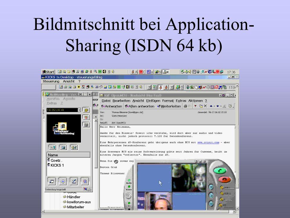 Bildmitschnitt bei Application- Sharing (ISDN 64 kb)