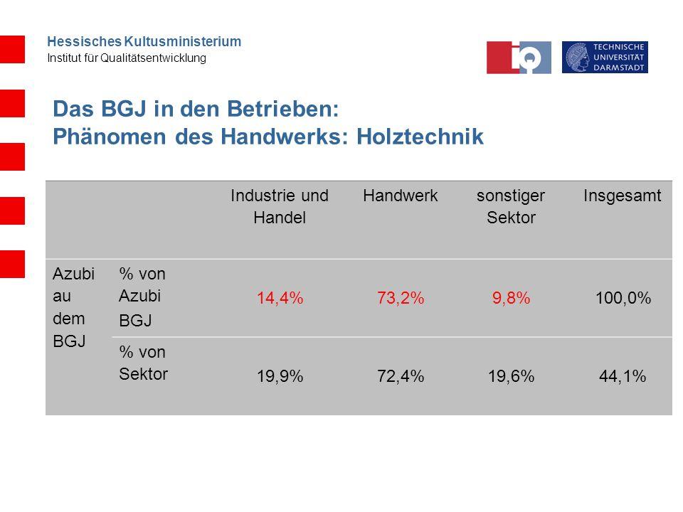 Hessisches Kultusministerium Institut für Qualitätsentwicklung Das BGJ in den Betrieben: Phänomen des Handwerks: Holztechnik Industrie und Handel Hand