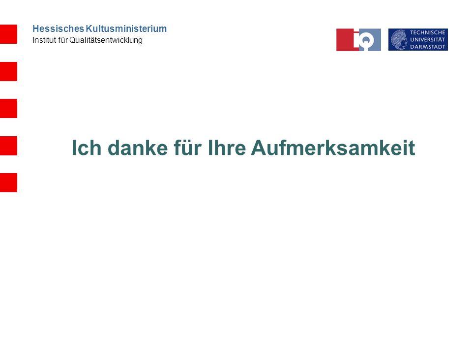 Hessisches Kultusministerium Institut für Qualitätsentwicklung Ich danke für Ihre Aufmerksamkeit