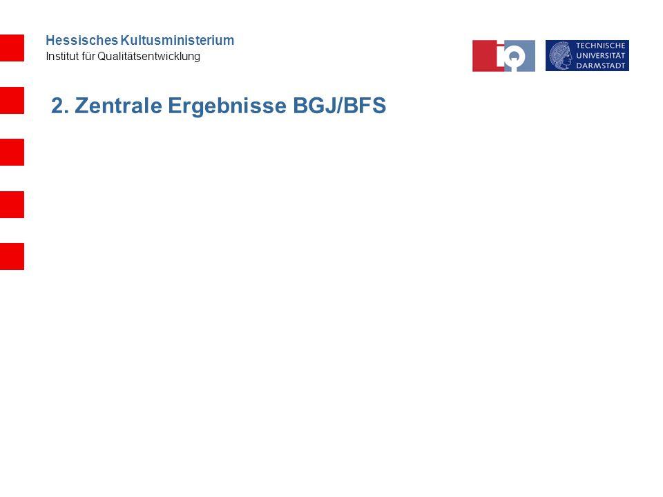 Hessisches Kultusministerium Institut für Qualitätsentwicklung 2. Zentrale Ergebnisse BGJ/BFS
