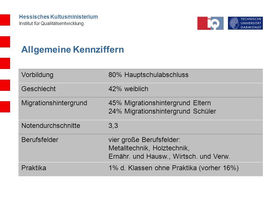 Hessisches Kultusministerium Institut für Qualitätsentwicklung Allgemeine Kennziffern Vorbildung80% Hauptschulabschluss Geschlecht42% weiblich Migrati