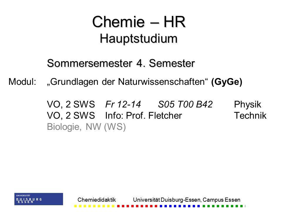 Chemiedidaktik Universität Duisburg-Essen, Campus Essen Sommersemester 4. Semester Modul:Grundlagen der Naturwissenschaften (GyGe) VO, 2 SWSFr 12-14S0
