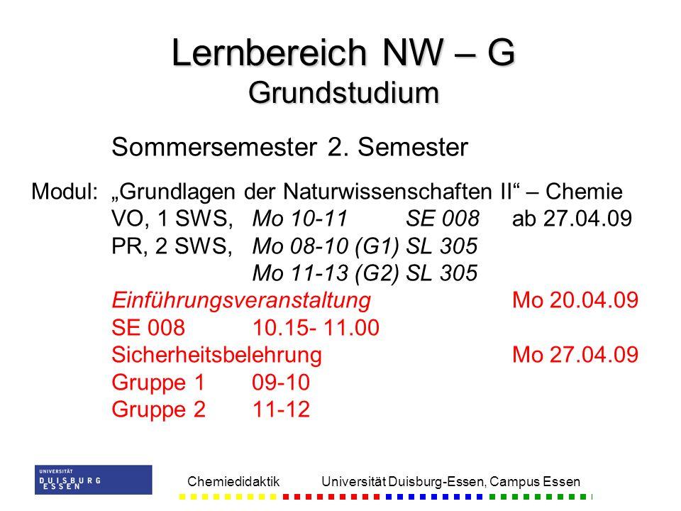Chemiedidaktik Universität Duisburg-Essen, Campus Essen Sommersemester 2. Semester Modul:Grundlagen der Naturwissenschaften II – Chemie VO, 1 SWS,Mo 1