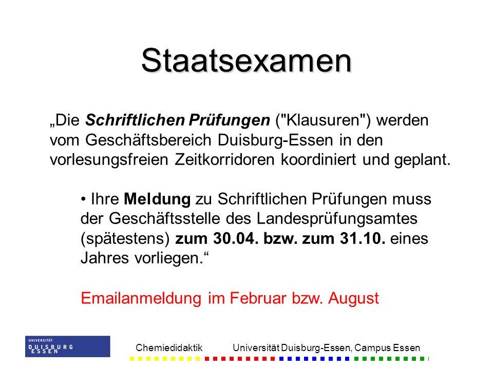 Chemiedidaktik Universität Duisburg-Essen, Campus Essen Staatsexamen Die Schriftlichen Prüfungen (