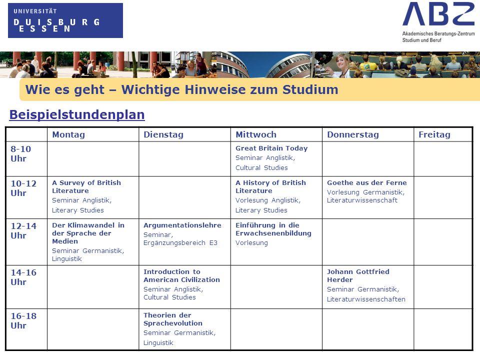 Wie es geht – Wichtige Hinweise zum Studium Beispielstundenplan MontagDienstagMittwochDonnerstagFreitag 8-10 Uhr Great Britain Today Seminar Anglistik
