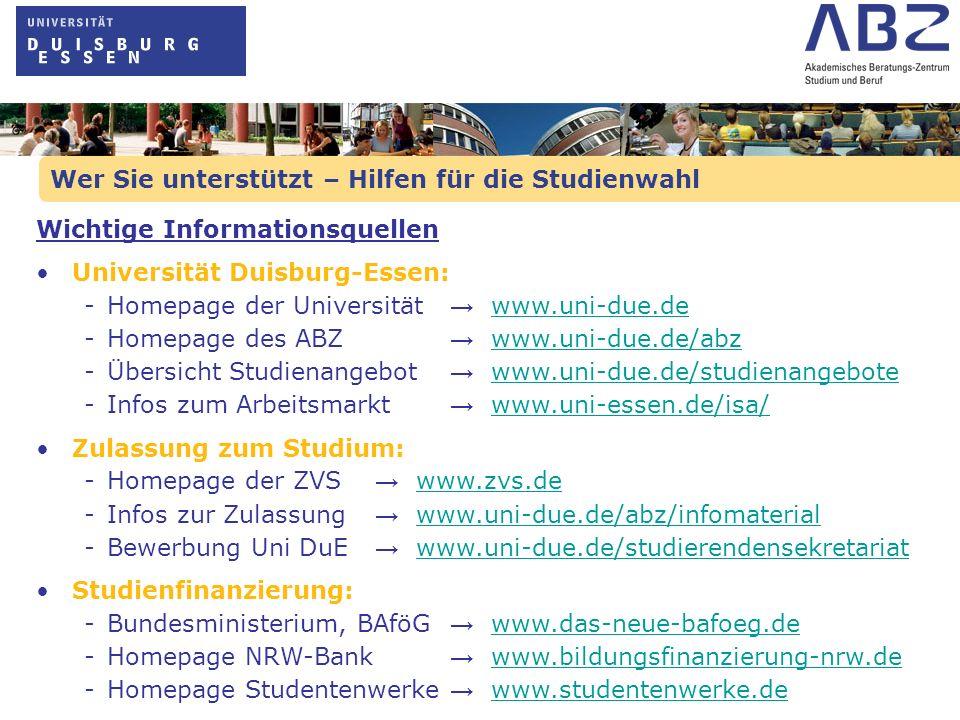Wer Sie unterstützt – Hilfen für die Studienwahl Wichtige Informationsquellen Universität Duisburg-Essen: - Homepage der Universität www.uni-due.dewww