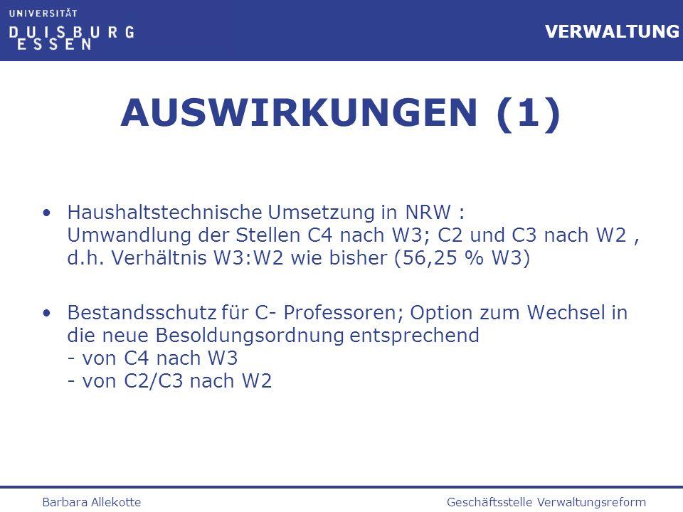 Geschäftsstelle VerwaltungsreformBarbara Allekotte VERWALTUNG AUSWIRKUNGEN (1) Haushaltstechnische Umsetzung in NRW : Umwandlung der Stellen C4 nach W