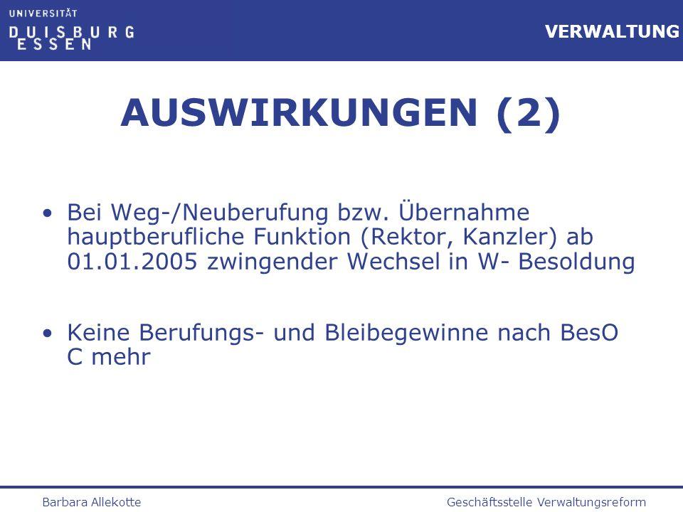 Geschäftsstelle VerwaltungsreformBarbara Allekotte VERWALTUNG AUSWIRKUNGEN (2) Bei Weg-/Neuberufung bzw. Übernahme hauptberufliche Funktion (Rektor, K