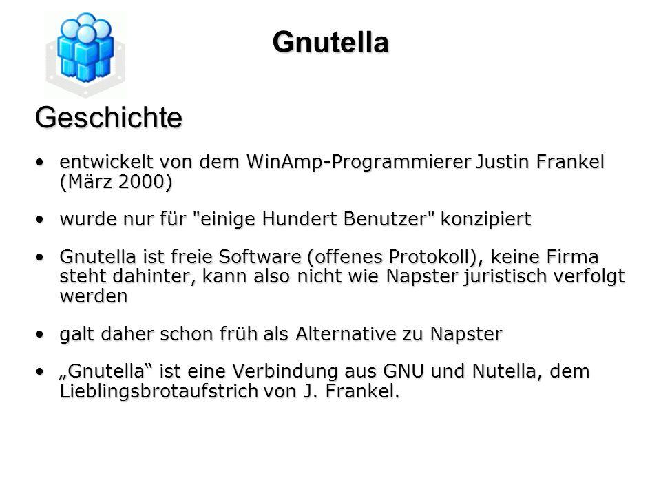 GnutellaGeschichte entwickelt von dem WinAmp-Programmierer Justin Frankel (März 2000)entwickelt von dem WinAmp-Programmierer Justin Frankel (März 2000