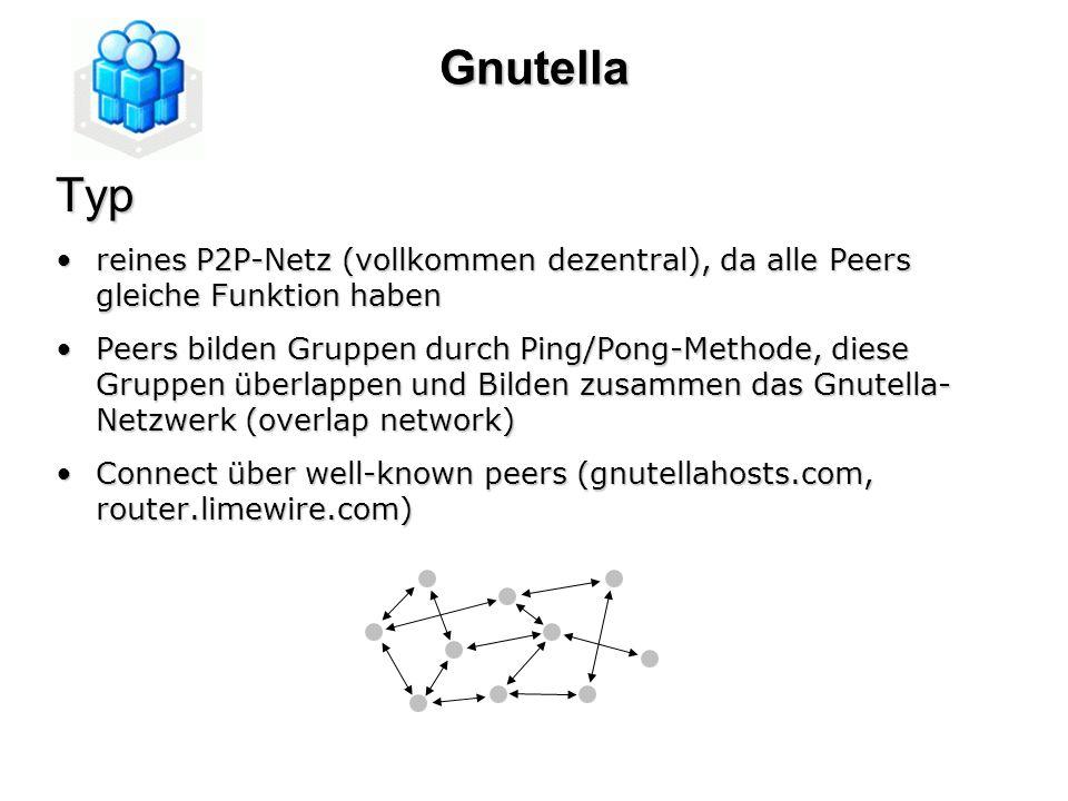 GnutellaTyp reines P2P-Netz (vollkommen dezentral), da alle Peers gleiche Funktion habenreines P2P-Netz (vollkommen dezentral), da alle Peers gleiche