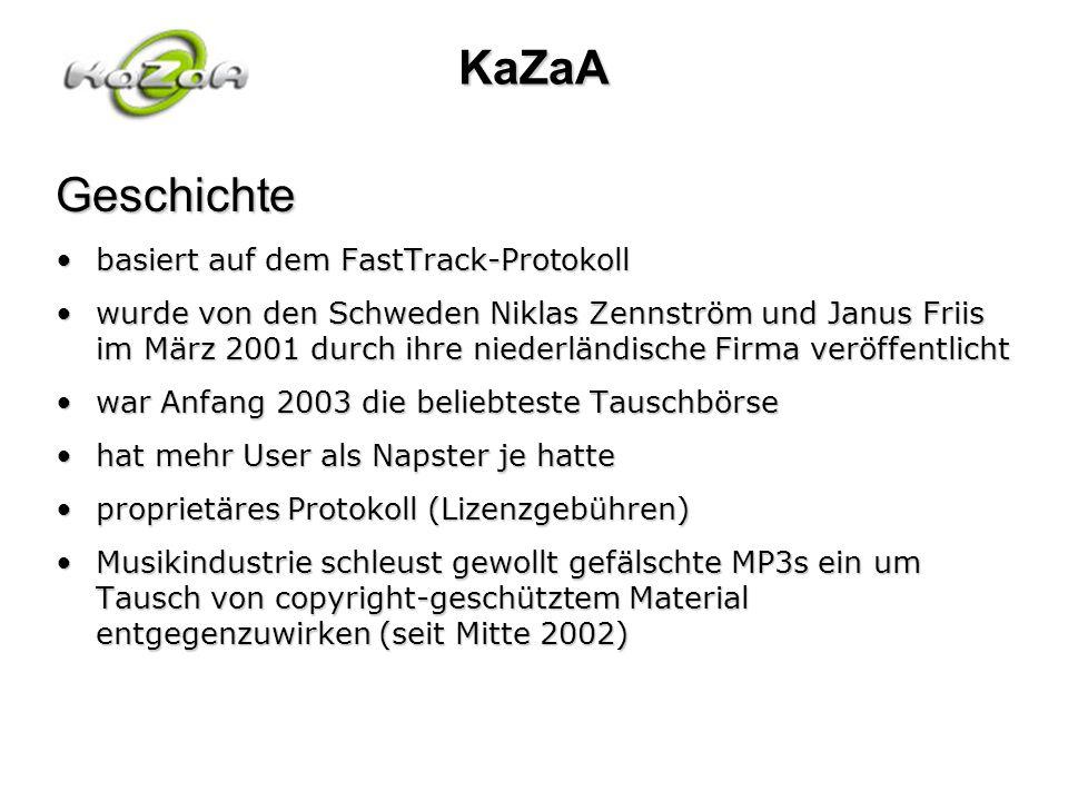 KaZaAGeschichte basiert auf dem FastTrack-Protokollbasiert auf dem FastTrack-Protokoll wurde von den Schweden Niklas Zennström und Janus Friis im März