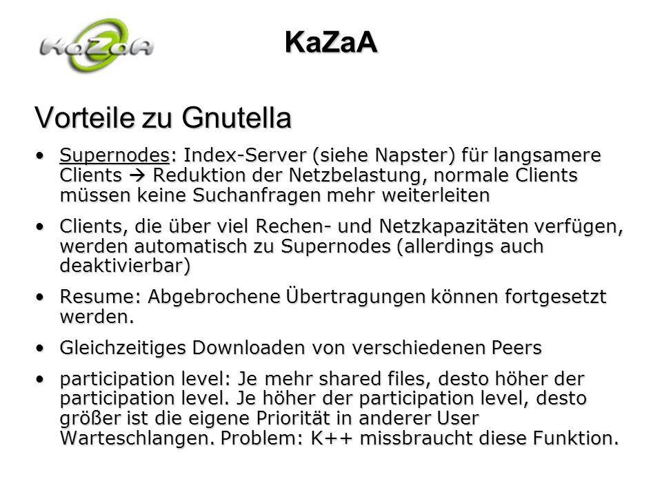 KaZaA Vorteile zu Gnutella Supernodes: Index-Server (siehe Napster) für langsamere Clients Reduktion der Netzbelastung, normale Clients müssen keine S