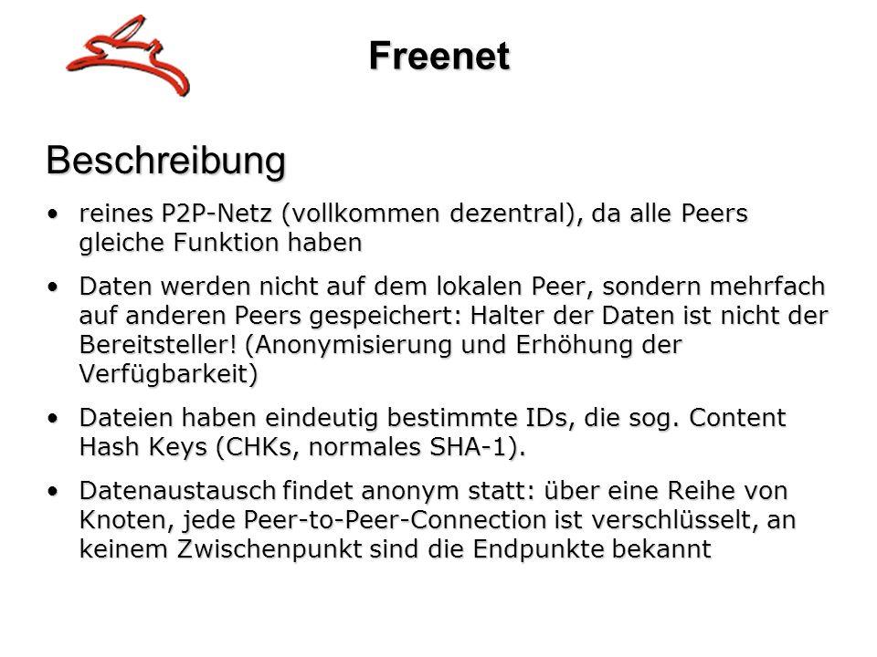 FreenetBeschreibung reines P2P-Netz (vollkommen dezentral), da alle Peers gleiche Funktion habenreines P2P-Netz (vollkommen dezentral), da alle Peers