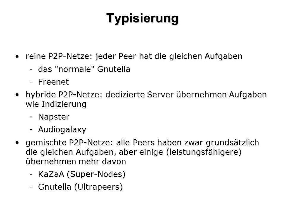 Typisierung reine P2P-Netze: jeder Peer hat die gleichen Aufgabenreine P2P-Netze: jeder Peer hat die gleichen Aufgaben -das