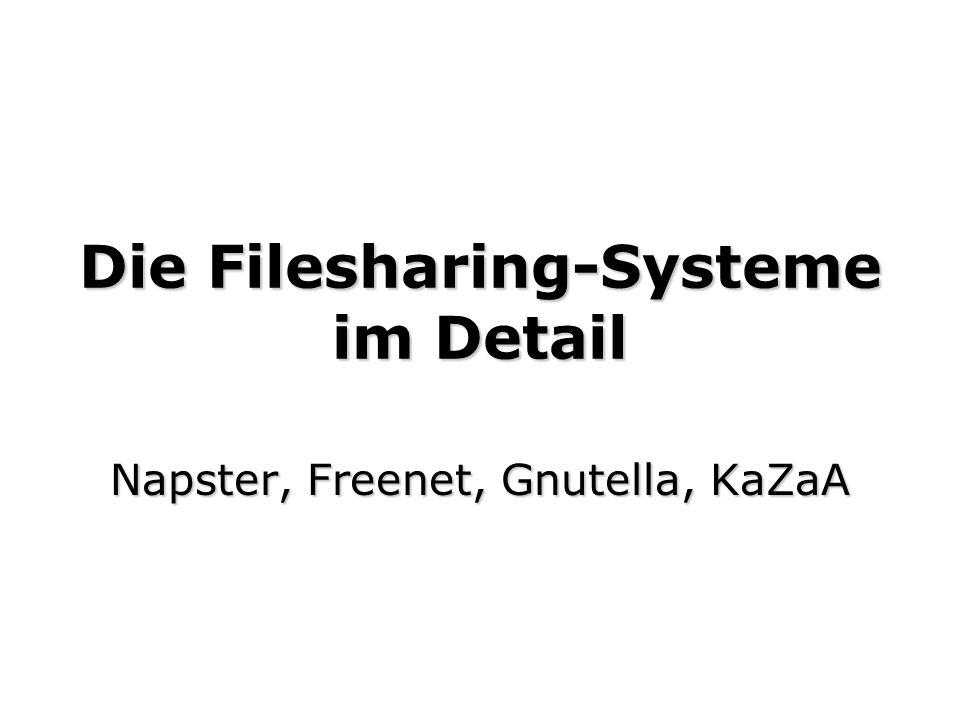 Die Filesharing-Systeme im Detail Napster, Freenet, Gnutella, KaZaA