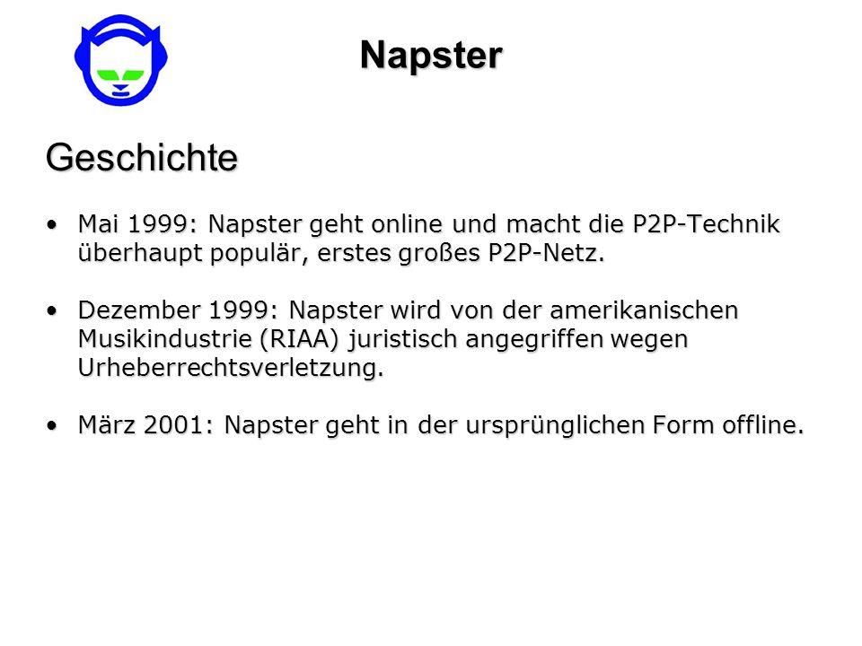 NapsterGeschichte Mai 1999: Napster geht online und macht die P2P-Technik überhaupt populär, erstes großes P2P-Netz.Mai 1999: Napster geht online und