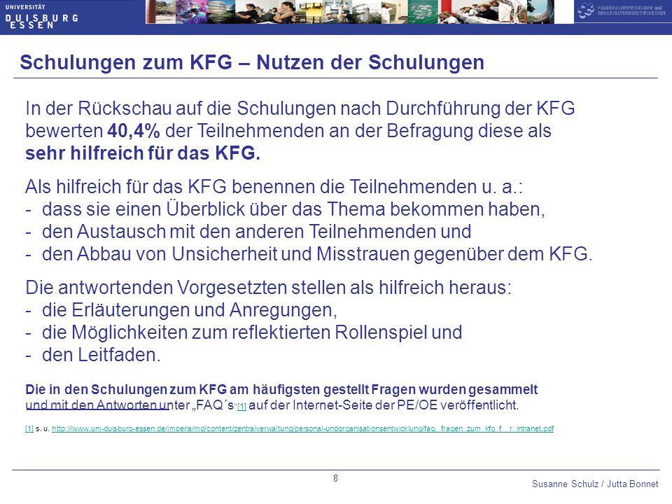 Susanne Schulz / Jutta Bonnet Optional slide number: 14pt Arial Bold,blue Datum 10pt Arial,blue Untertitel 14pt Arial Bold,blue Thema des Vortrags 10pt Arial,blue 9 Durchführung KFG an der UDE - ZV, ZIM; ZWW, ABZ (1) Von insgesamt 589 geplanten KFG (ohne UB) sind 299 Gespräche bis August 2008 geführt worden, das sind 51% der KFG.