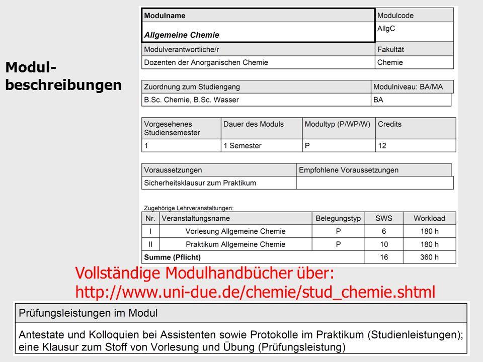 Modul- beschreibungen Vollständige Modulhandbücher über: http://www.uni-due.de/chemie/stud_chemie.shtml