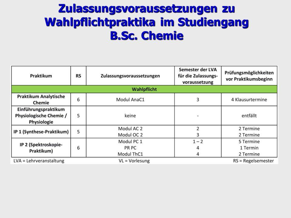 Zulassungsvoraussetzungen zu Wahlpflichtpraktika im Studiengang B.Sc. Chemie
