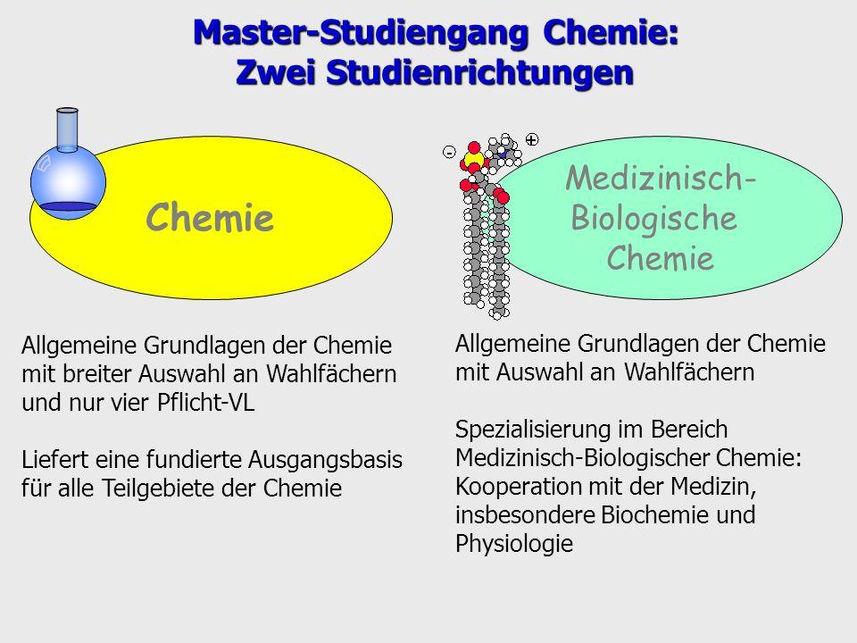 Chemie Medizinisch- Biologische Chemie Allgemeine Grundlagen der Chemie mit Auswahl an Wahlfächern Spezialisierung im Bereich Medizinisch-Biologischer