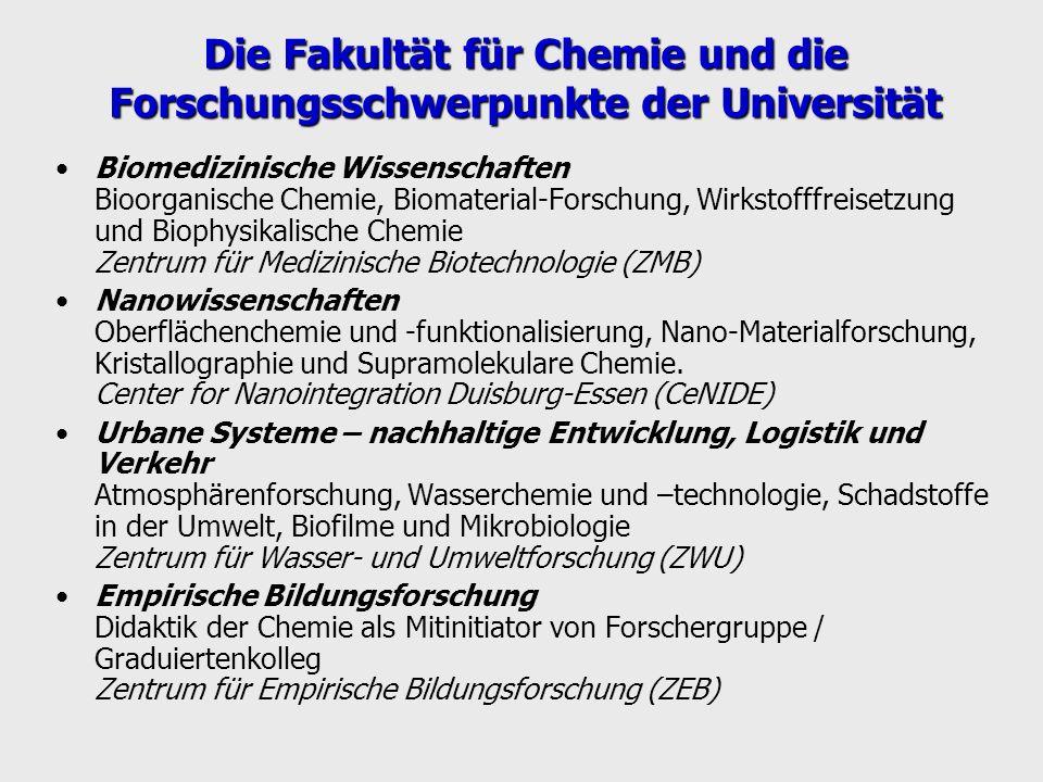 Die Fakultät für Chemie und die Forschungsschwerpunkte der Universität Biomedizinische Wissenschaften Bioorganische Chemie, Biomaterial-Forschung, Wir