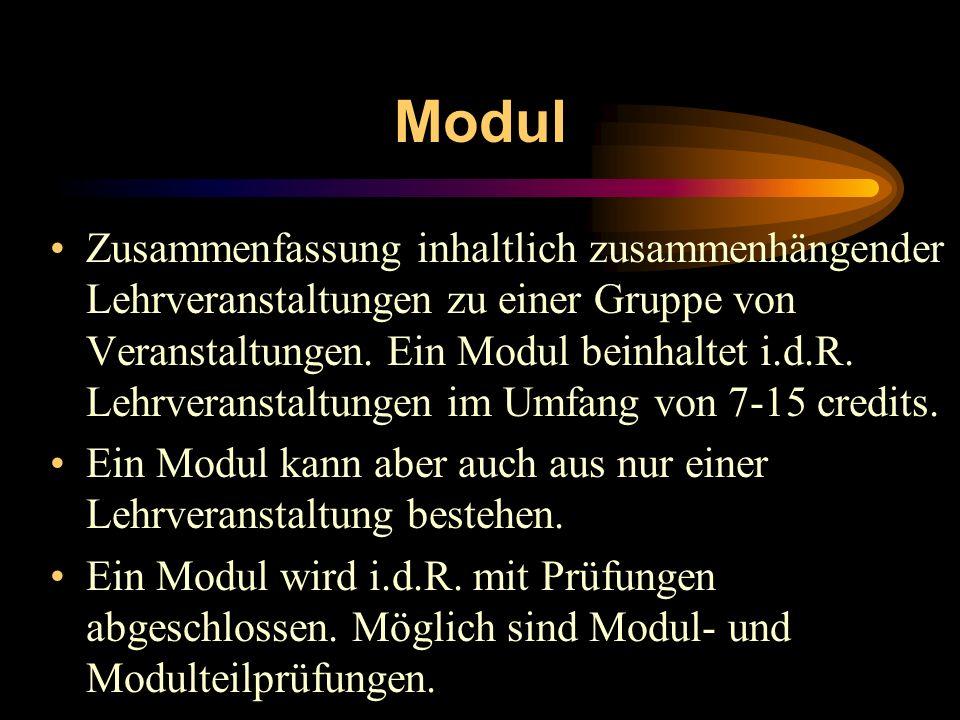 Modul Zusammenfassung inhaltlich zusammenhängender Lehrveranstaltungen zu einer Gruppe von Veranstaltungen. Ein Modul beinhaltet i.d.R. Lehrveranstalt