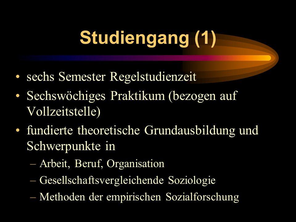 Studiengang (1) sechs Semester Regelstudienzeit Sechswöchiges Praktikum (bezogen auf Vollzeitstelle) fundierte theoretische Grundausbildung und Schwer