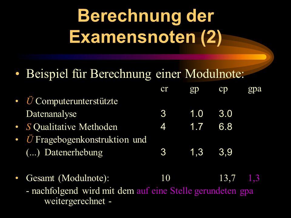Berechnung der Examensnoten (2) Beispiel für Berechnung einer Modulnote: crgpcpgpa Ü Computerunterstützte Datenanalyse 3 1.0 3.0 S Qualitative Methode