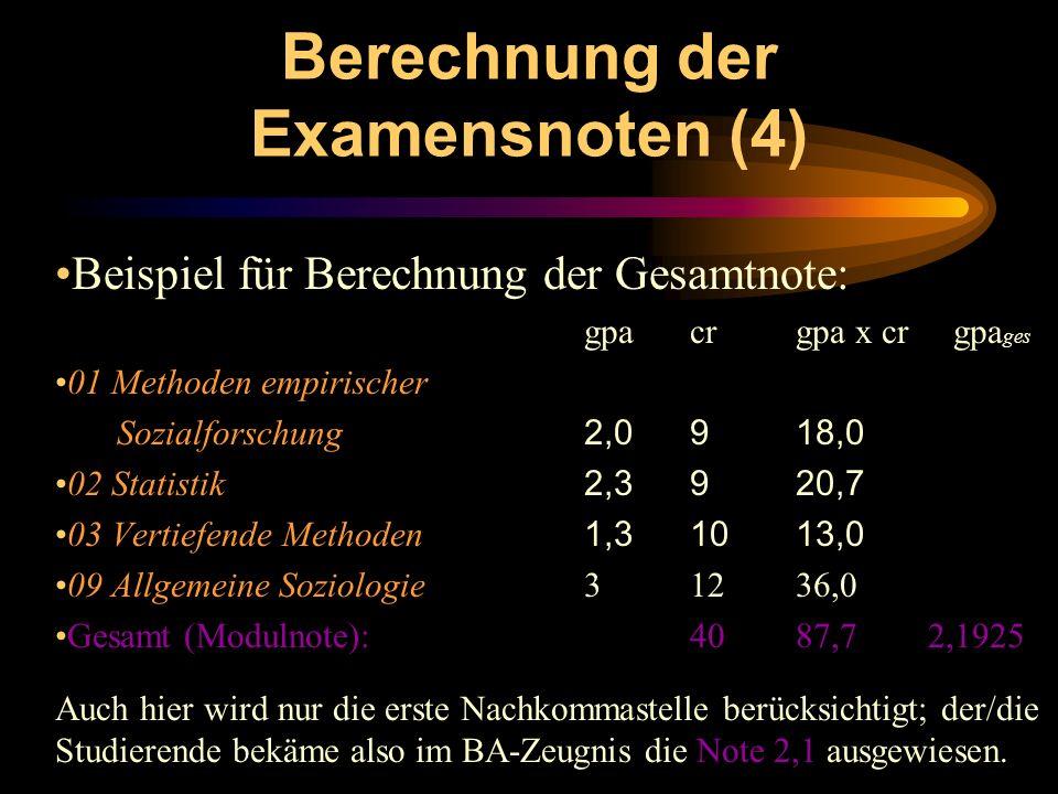 Berechnung der Examensnoten (4) Beispiel für Berechnung der Gesamtnote: gpacrgpa x cr gpa ges 01 Methoden empirischer Sozialforschung 2,0 9 18,0 02 St