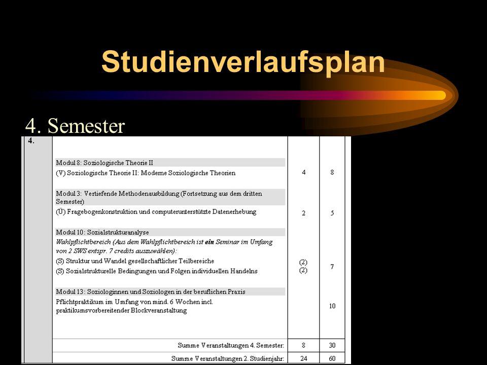 Studienverlaufsplan 4. Semester