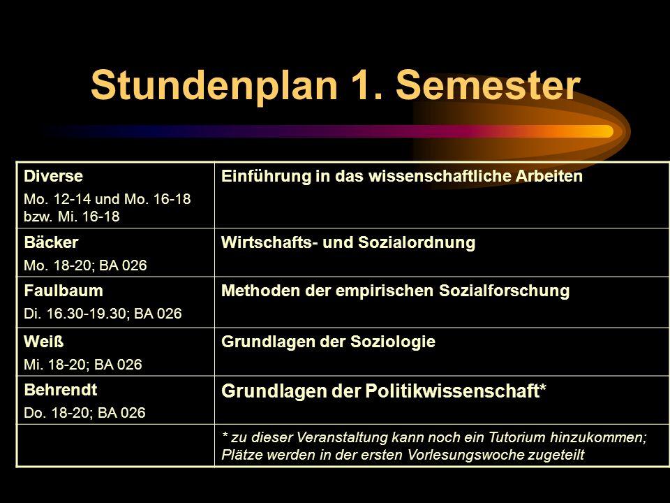 Stundenplan 1. Semester Diverse Mo. 12-14 und Mo. 16-18 bzw. Mi. 16-18 Einführung in das wissenschaftliche Arbeiten Bäcker Mo. 18-20; BA 026 Wirtschaf