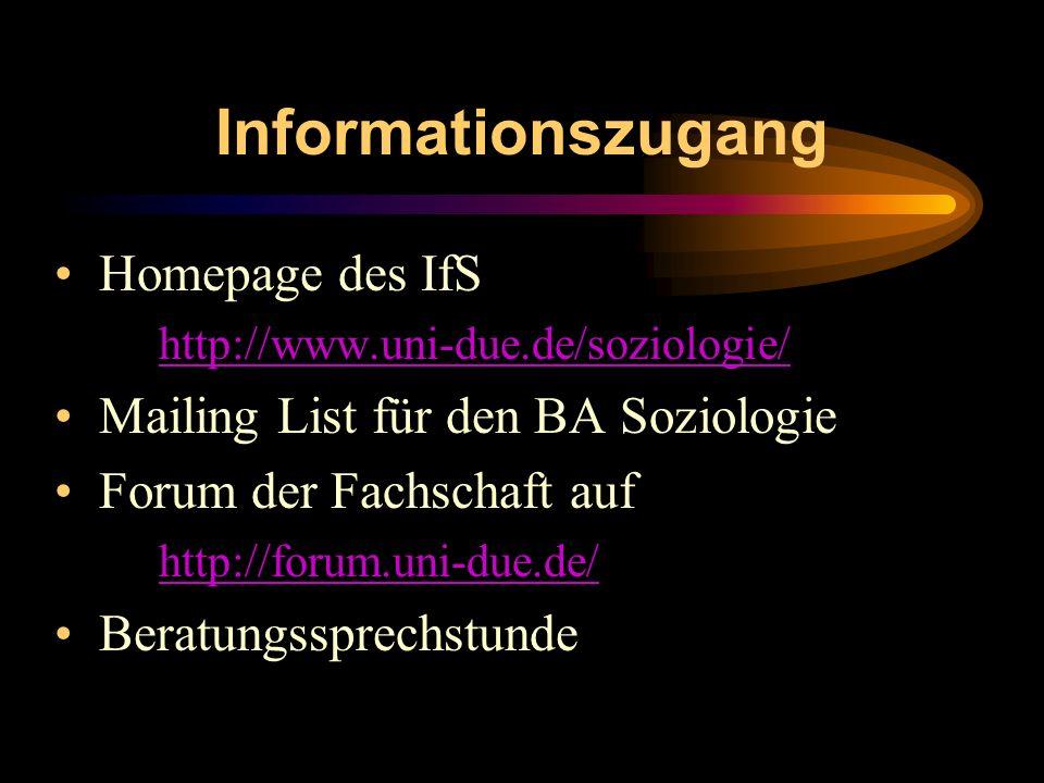 Informationszugang Homepage des IfS http://www.uni-due.de/soziologie/ Mailing List für den BA Soziologie Forum der Fachschaft auf http://forum.uni-due